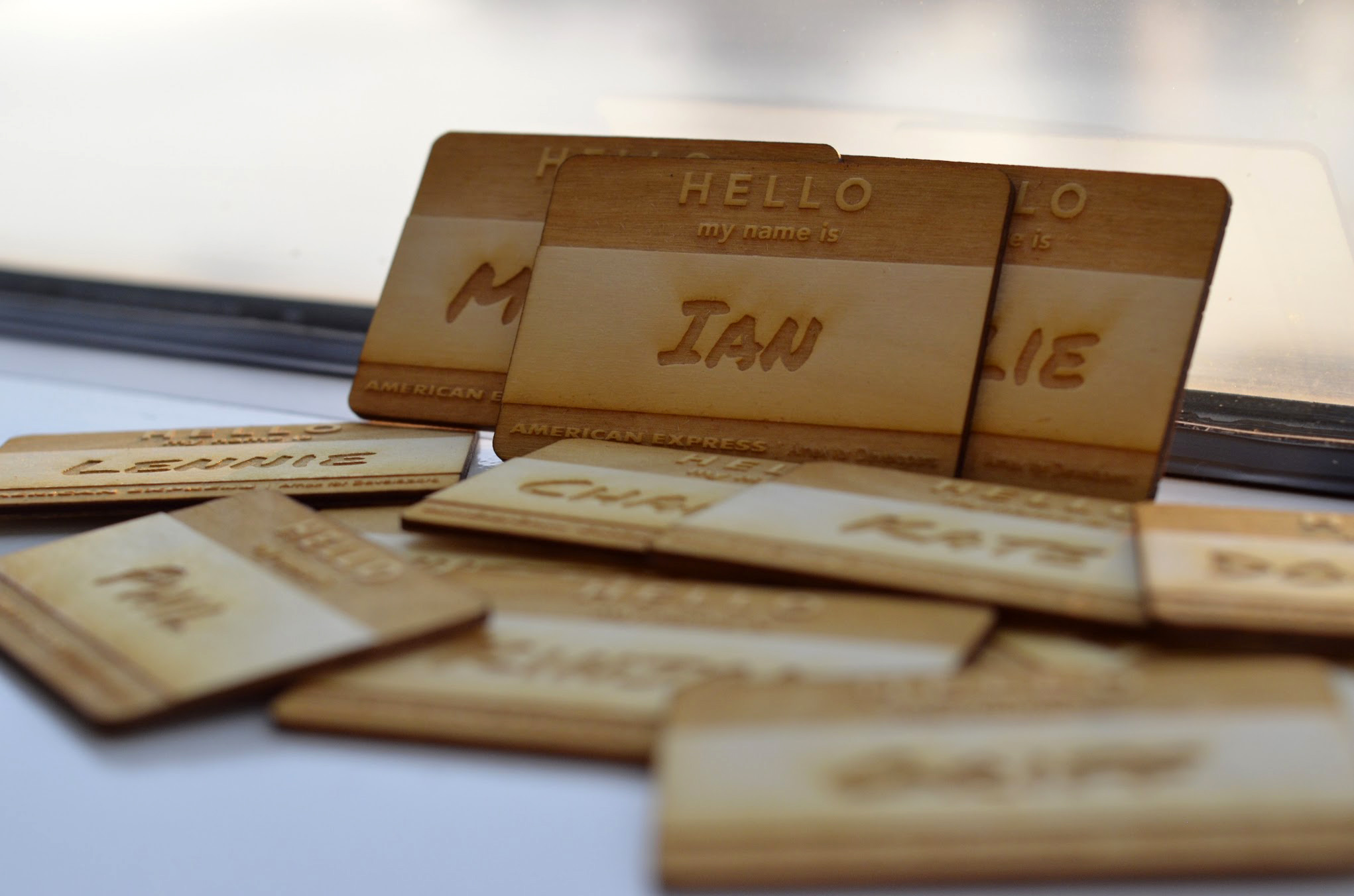 Amex for Developers Lasercut Nametags