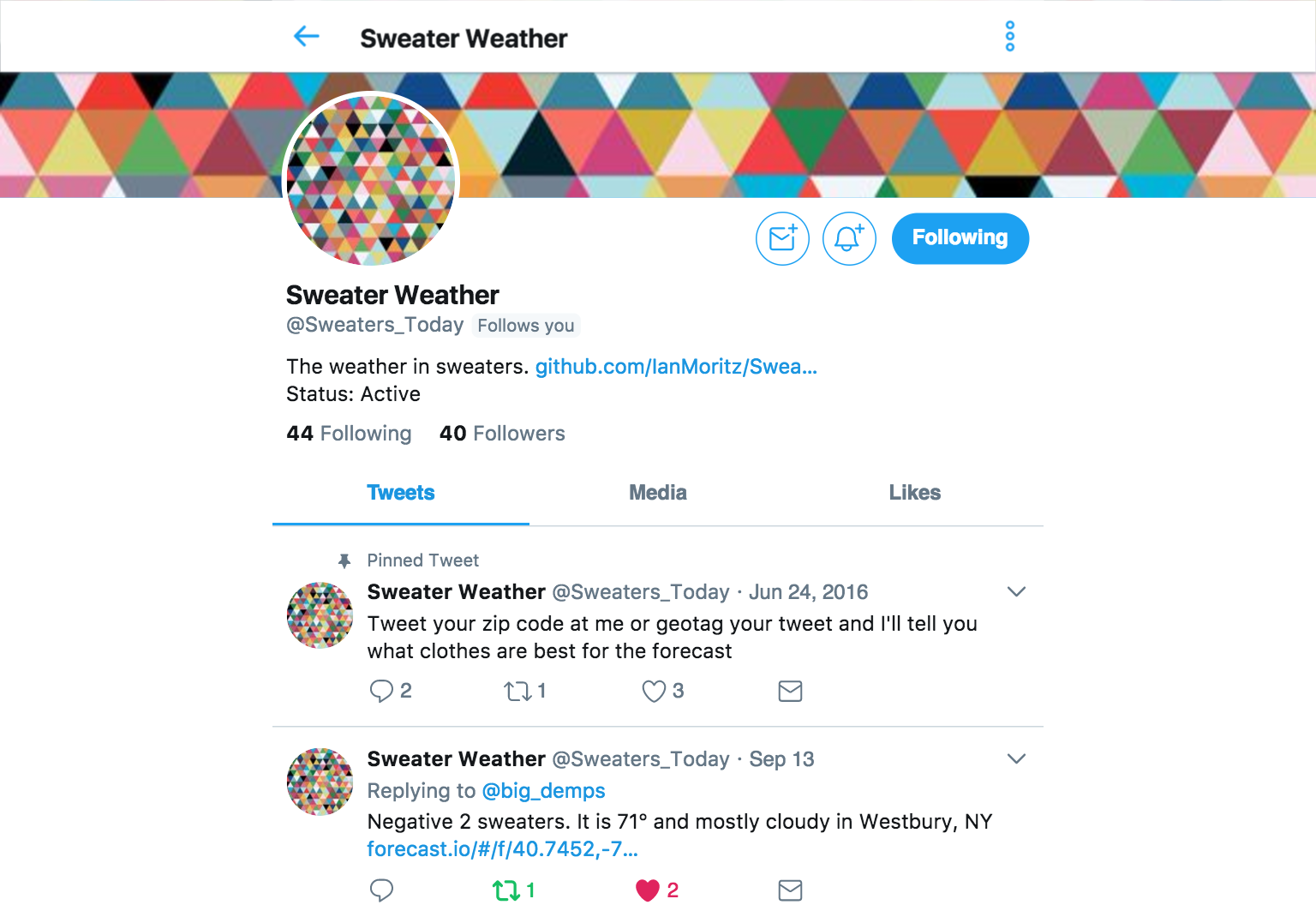 Sweater Weather Twitter Bot